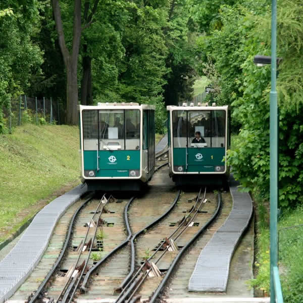 The Petrin Hill funicular in Prague